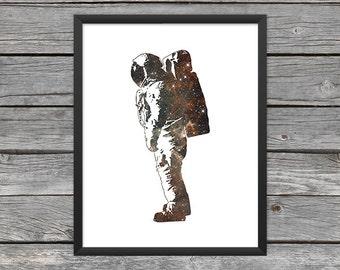 Astronaut Poster Astronaut Print Astronaut Silhouette Astronaut Art Astronaut Outline Outer Space Art Galaxy Art Nebula Art Instant Download