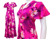 Vintage Clothing - SZ XS - Hawaiian Dress - Vintage 70s Dress - Vintage Maxi Dress - 70s Dress - Hot Pink - Flutter Sleeve - FLORAL - Summer
