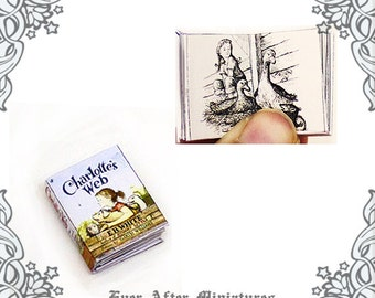 Charlotte's Web Dollhouse Miniature Book –12th Scale OPENABLE Charlotte's Web Miniature Book Children Book Children Novel Printable DOWNLOAD