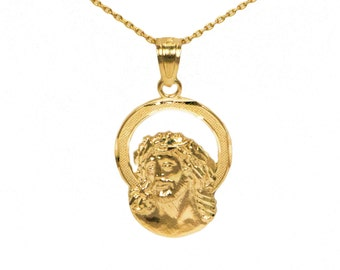 10k Yellow Gold Jesus Necklace