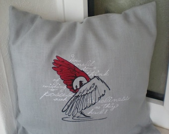 Pillowcase embroidered the seven swans 100% linen grey red black