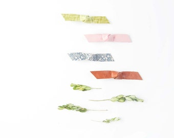 Baby Nylon Headband Bow Knotted Leather Crocodile Clip Spring Mix Blush Pink, Citron Green, Cornflower Blue Floral & Saddle Brown Baby/Adult