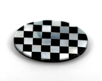 25x18 Oval Shaped Stone with Black Onyx and Mother of Pearl Checkerboard Inlay