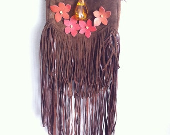 Real handmade crossbody bag from soft suede with elements of fashionable suede fringe with amber&flowers new women's brown bag size - small.