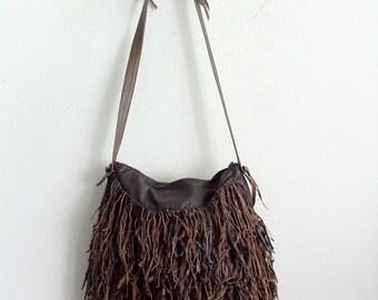 Brown fringe real leather bag, designer hand made medium bag.