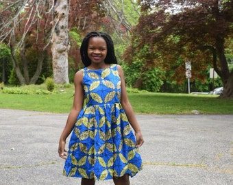 Pleated Royal blue african print dress