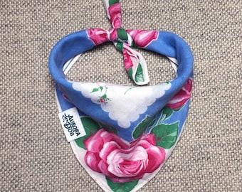 "Four Corner Roses Vintage Dog Bandana -- Fits up to an 11"" Neck"