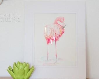 ORIGINAL ARTWORK - Flamingo with Gold Foil, Flamingo Art, Flamingo print, A4 Artwork, Watercolour, Hand painted