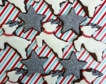 Christmas Sugar Cookies, Winter Wonderland Reindeer Sugar Cookies, Star Sugar Cookies( 1 Dozen )