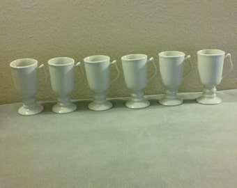 Set Of 6 Hall #1272 Vintage White Pedestal-Base Irish Coffee Mugs, Super Condition