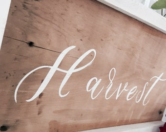 Large Harvest // Reclaimed Barn Wood Sign, Fall, White Frame, Whimsical, Chic Decor, Rustic