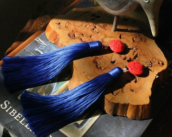 Happiness carved lacquerware earrings