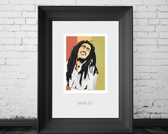 Bob Marley. Jamaican reggae singer. Poster. A4, A3 and A2 poster sizes available. By Mike Moran