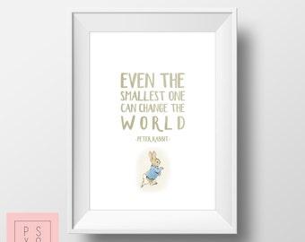 Peter Rabbit Nursery Artwork | Peter Rabbit | Small Things Can Change The World | Beatrix Potter Print | Baby Boy Nursery | Baby Girl
