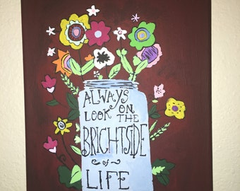"Painted Canvas Quote ""BrightSide"""