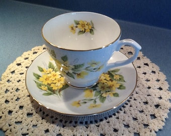 Duchess NEW Vintage Tea Cup and Saucer with Yellow Flowers