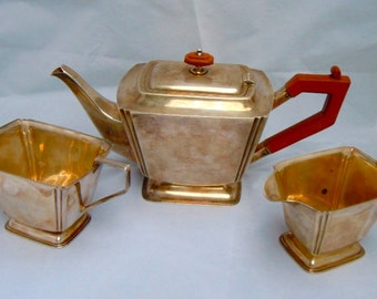 c. 1938 Art Deco fully hallmarked English solid silver 3 piece tea service excellent condition 1.22 kilo weight