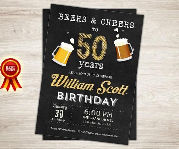 50th Birthday Invitation Man Male Cheers to 50 years Cheers