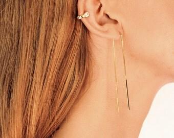 Gold Threader Earrings - Long Threader Earrings - 18K threader earrings - Very dainty earrings - Delicate earrings - Minimalist Earrings