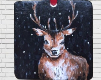 WINTER DEER ORNAMENT - hand painted acrylic ceramic ornament christmas holiday