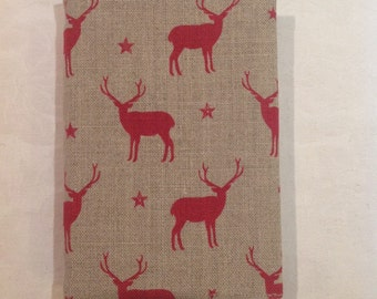 A6 Notepad In Peony & Sage Stag Red