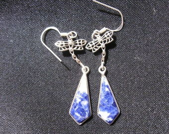 Sterling silver and blue Sodalite dangle earrings with dragonfly accent.