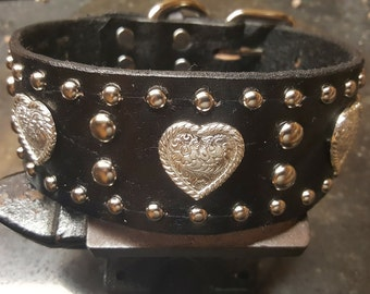 Leather dog Collar, Black, Hearts, Studs, hand crafted