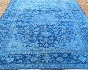 Blue overdye area rug, 9X13 area rug , oversize area rug , distressed blue rug