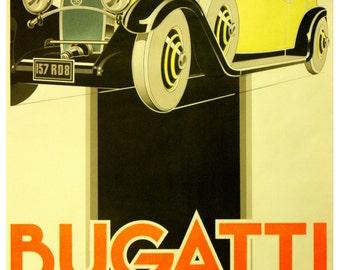Vintage Bugatti Advertising Poster Print