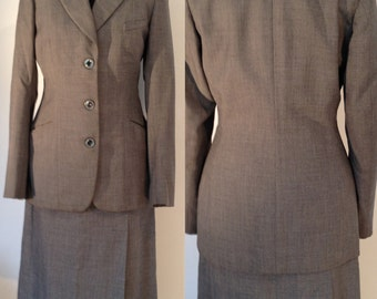 Vintage 1940's suit grey wool tweed XSmall Small waist 24 Bust 34 tailored Alexandre of Oxford Street