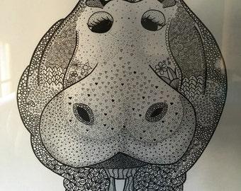 Hippo drawing zentangle