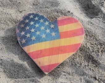 American Flag Wood Heart