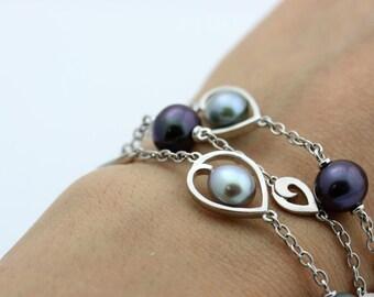 Pearl Silver Bracelet, Multi Strand Silver Pearl Bracelet