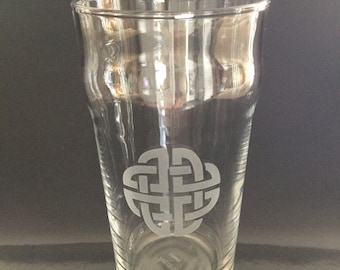 glass engraved with a Celtic motif