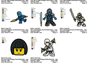 Package 8 Lego Ninjago Embroidery Designs