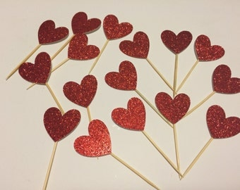 12-pack of Glitter, Red Heart Cupcake Toppers