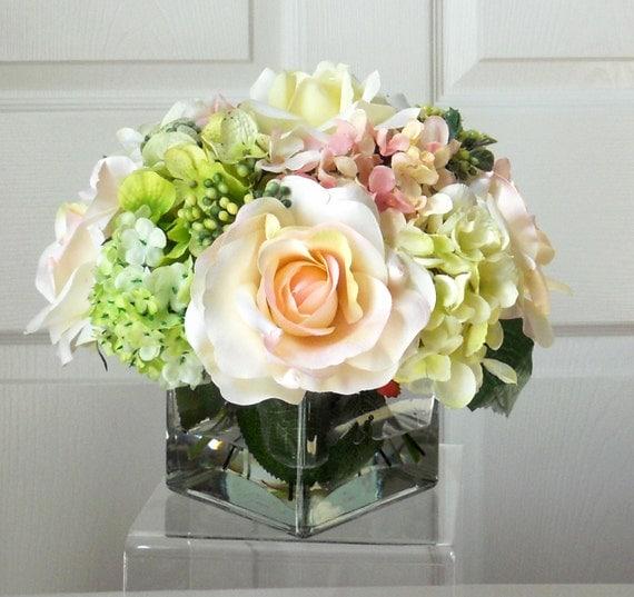 Fine SILK Flowers Wedding Centerpieces Flower Arrangement Silk Flowers
