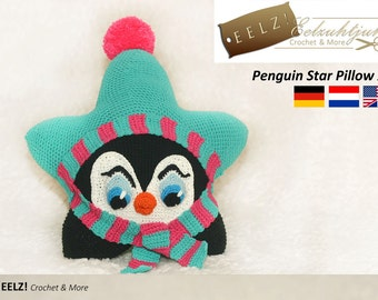 Star Pillow Penguin XL - Crochet Pattern
