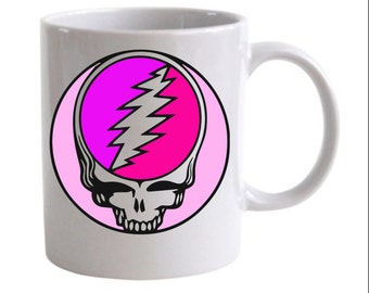 Pink Deadhead Steal Your Face Grateful Dead Coffee Mug