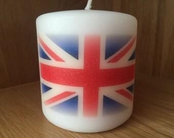 British Union Jack Flag Candle, British, Union Jack, Pillar candle, Union Jack gift. Present, British Union Jack, gift, london gift,