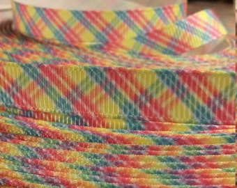 3 yards, 3/8' grosgrain ribbon colorful stripes