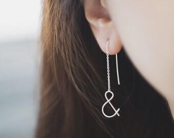 Ampersand Earrings, Ampersand Threader, Silver Threader, Silver Long Threader,  Chain Earrings, Silver Long Earrings, Long Earrings
