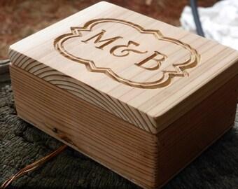 Wedding Ring Box / Personalised wood box / Recycled timber box