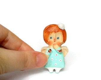 "Hand carved wood angel Personal angel Little angel Mini angel Hand painted Miniature wooden doll Mini doll Naive art Blue 5,5 cm (2,2"")"