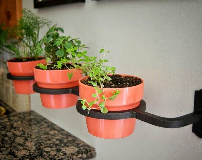 Indoor/Outdoor Herb Garden, Flower Pot Holder, Planter, Metal, Handmade, Welded, Wrought Iron, Fixer Upper Decor Made in the USA