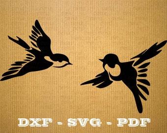 Oiseaux SVG Hirondelle fichier vectoriel pour cricut,  oiseau cutting files, clipart bird, DXF files, silhouette bird, svg hirondelle