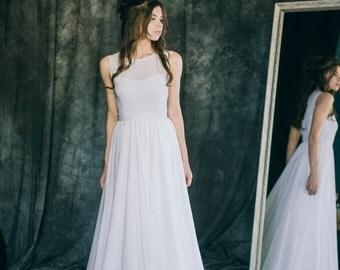 "Wedding dress ""Anna"" | Beach wedding dress silk chiffon lace simple boho bridal gown white ivory sleeveless modern minimalist alternative"
