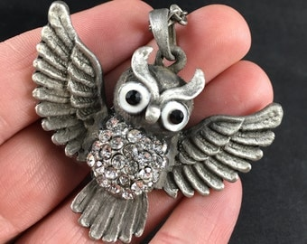 Flying Owl Pendant in Silver Tone
