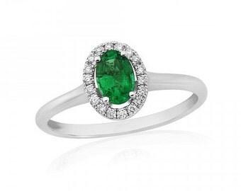 Emerald & Diamond White Gold Ring