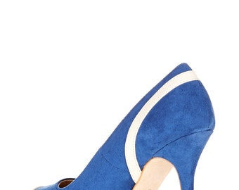 Women Faux Suede blue & cream high heel court shoes